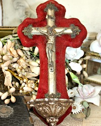Antique French Benitier Holy Water Font Red Velvet Napoleon III