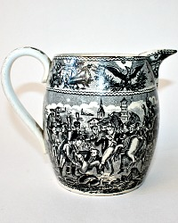 19th Century French Black Transferware Spirits Pitcher Napoleononic War