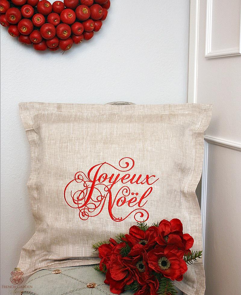European Natural Linen Joyeux Noel Pillow Cover Red