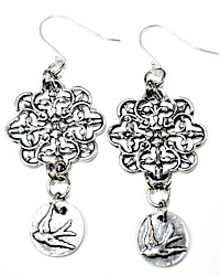 Limited Edition French Sterling Silver Filigree Oiseau Bird Earrings