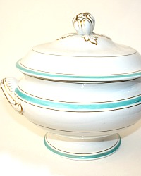 Antique French Large Porcelain White and Aqua Blue Tureen