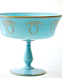 French Blue Opaline Footed Open Compote Center Bowl Gilt Laurel Wreath