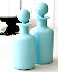 Antique Louis Philippe French Turquoise Blue Opaline Liqueur Decanters Pair