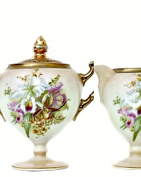 Antique Prussia Beyer & Bock Royal Rudolstadt Porcelain Cream & Sugar Orchid