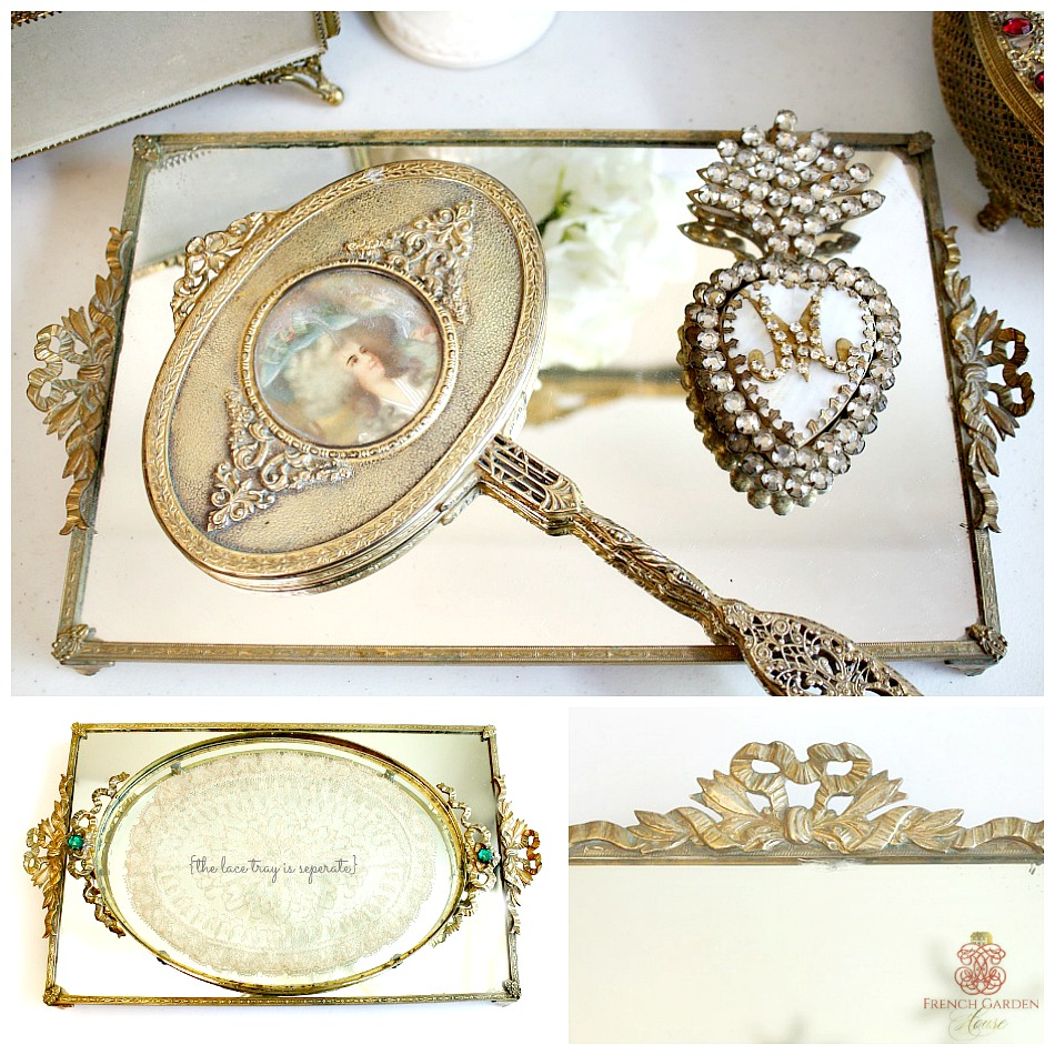 Gold Plated Vanity Mirror Tray French Bows
