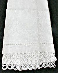 Antique Linen Damask & Lace Floral Hand Towel