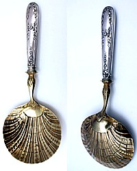Antique French Sterling Silver & Gilded Oyster Serving Spoon