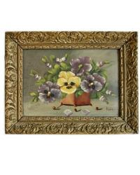 Vintage Pansies Flea Market Oil Painting Gilt Frame