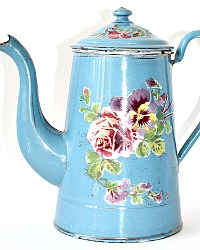 Exceptional Antique French Rose & Pansy Floral Enamelware Coffee Pot Bleu