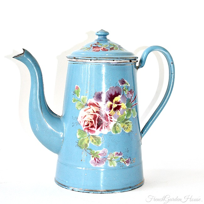 Exceptional Antique French Rose Pansy Floral Enamelware Coffee Pot Bleu