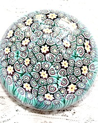 Vintage Italian Aqua Blue Hand Blown Millefleurs Glass Paperweight