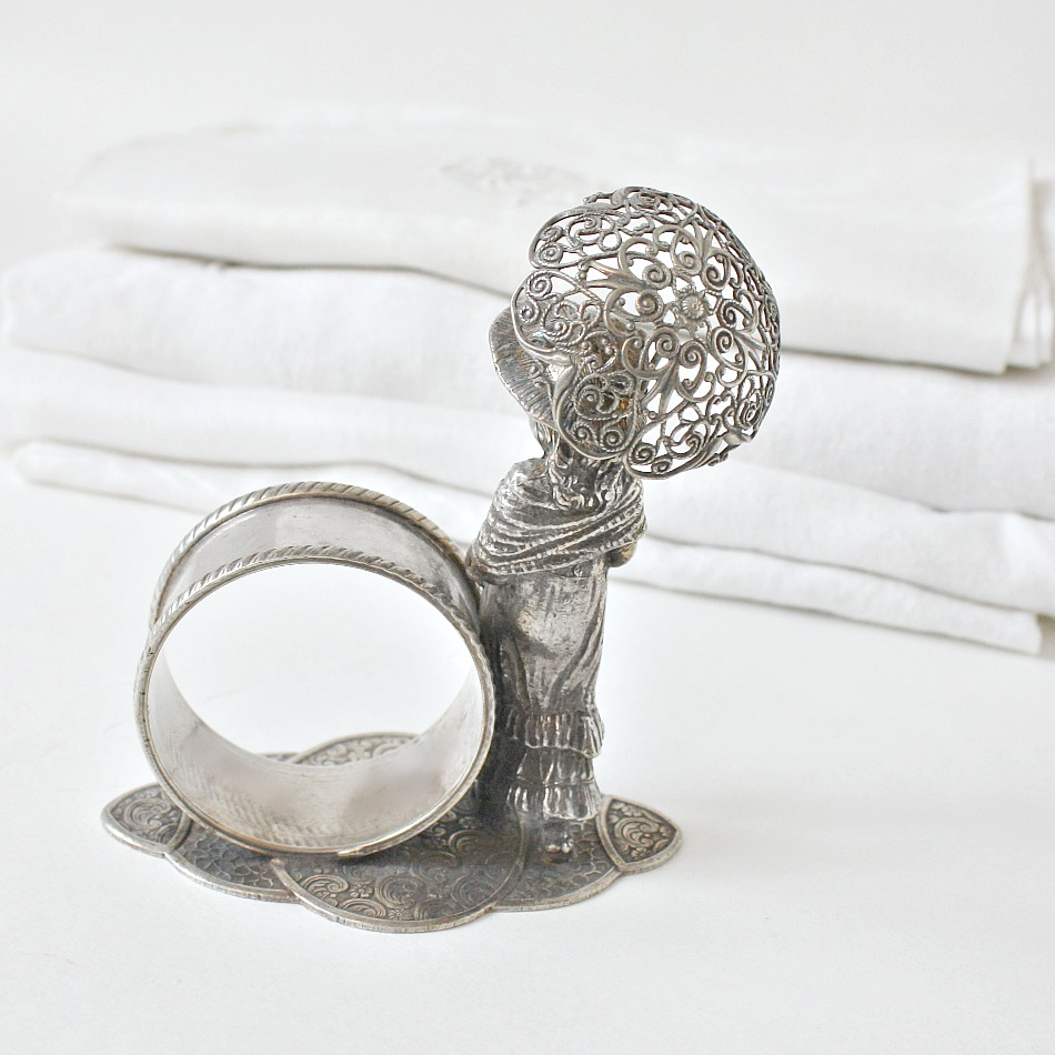 Vintage Silver Plated Napkin Ring Girl with Parasol