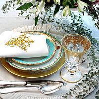 Antique Estate Paris Gilt & Aqua Blue Scalloped Plate Set for 8
