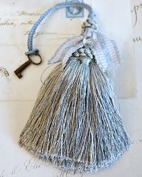 Parisian Atelier Light Blue Tassel with Antique Button