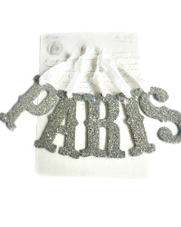 PARIS Letters Vintage German Glass Glitter