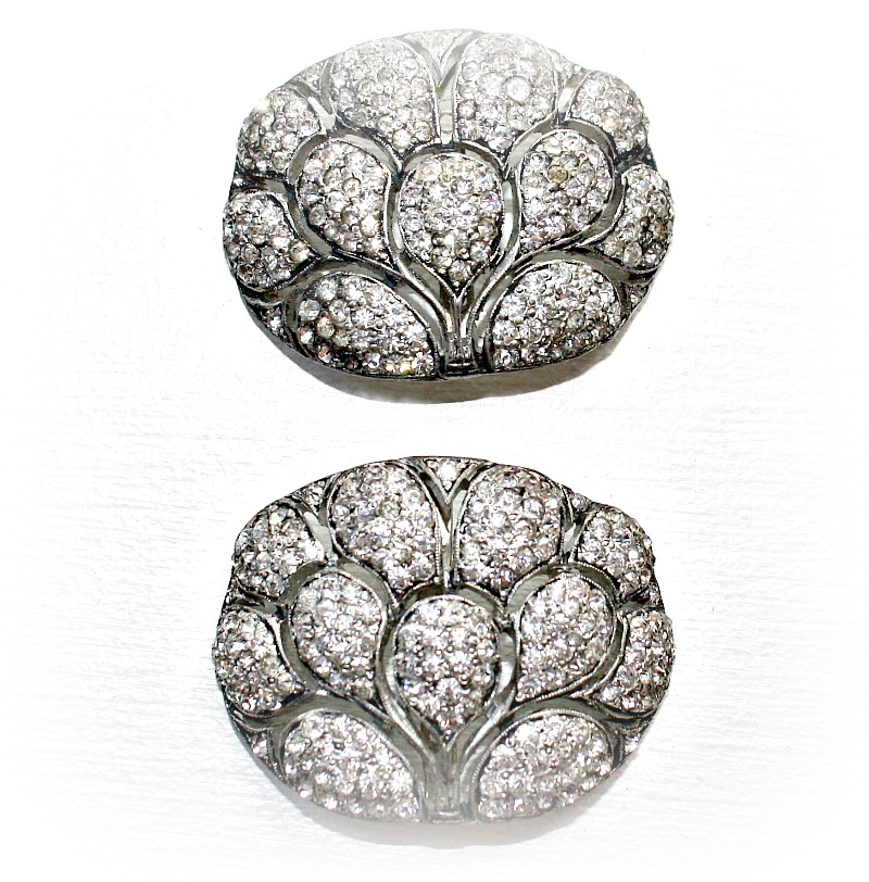 Art Deco Rhinestone Peacock Shoe Buckles Pair