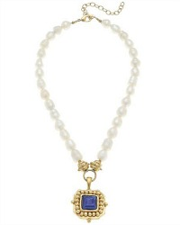 Freshwater Pearl and Blue Crystal Pendant Necklace