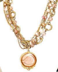 Extasia Luxury Pearl Intaglio Pendant Statement Necklace