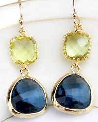 Apple Green and Navy Earrings