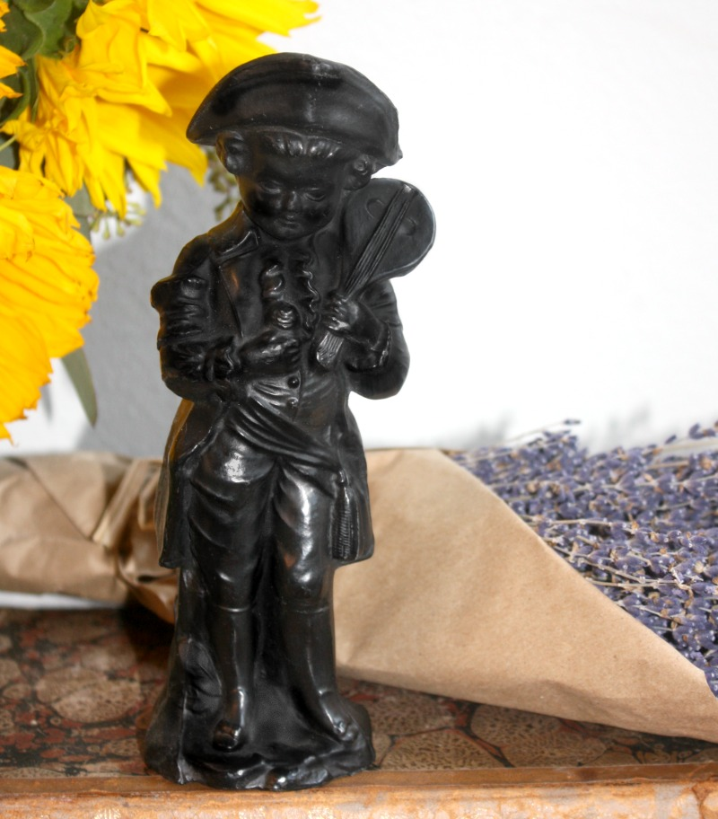 French Country Boy with Mandolin Metal Figure
