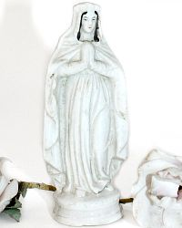 Antique French Porcelain Old Paris Madonna Virgin Mary Statue