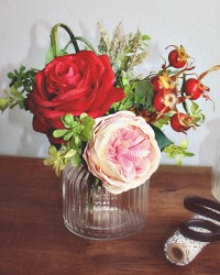 French Country Rose Posey in Glass Vase
