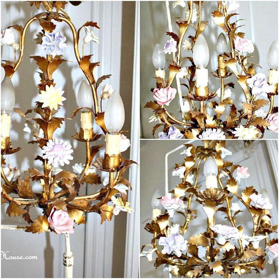 Vintage Mid Century Italian Gilt Tole & Porcelain Flowers Birdcage Chandelier