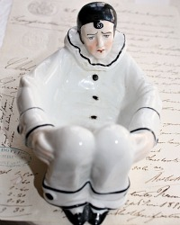 Antique Sitzendorf  Porcelain Figural Pierrot Powder Puff Holder