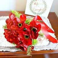 Ruby Red Winter Anemone Bouquet