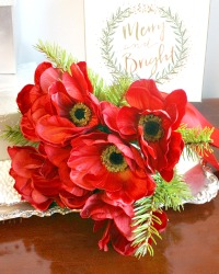 Ruby Red Holiday Anemone Bouquet