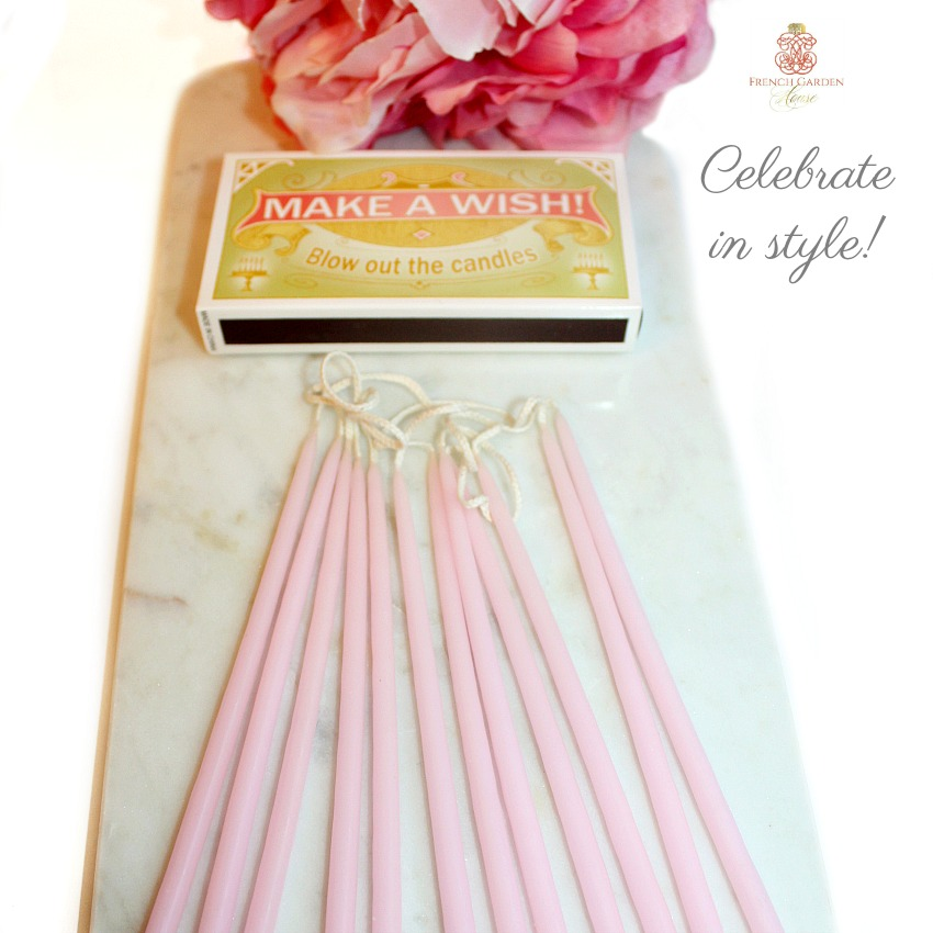 French Rose Pink Celebration Candles Gift Set