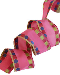 French Wired Pink Dots Ribbon