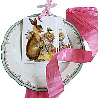French Country Hare Gift Tags with Pink Ribbon