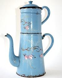 Antique French Enamelware Light Blue Pink Roses Gilt Biggin Cafetiere