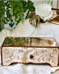 1930 Vintage Pink Mirrored Floral Vanity Jewelry Box