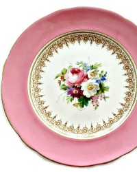 Antique Pink Hand Painted Floral Plate Set of 6