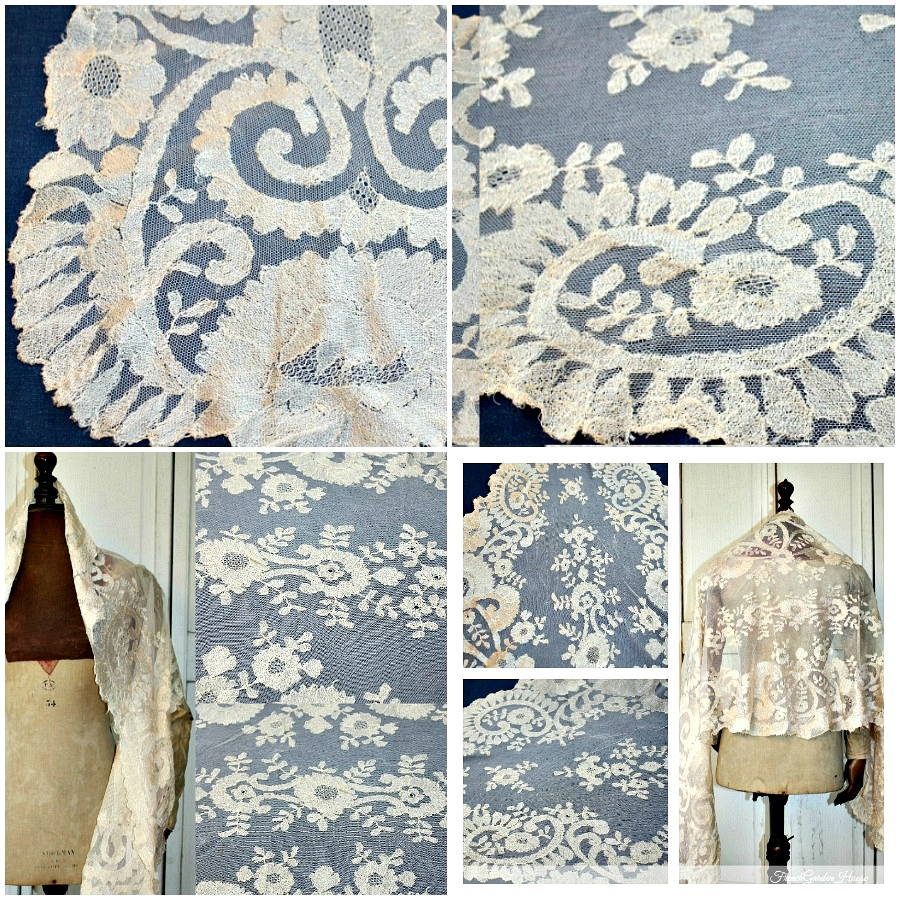 19th Century French Hand Needlelace Silk Champagne Blonde