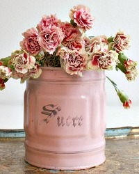 Antique French Pink Enamelware Large Sucre Cannister