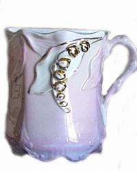 Antique Victorian Pink Floral Lustre Shaving Mug