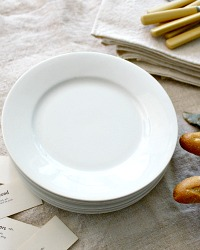 Vintage French White Plates Set of 6