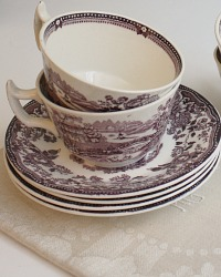 Gorgeous Purple Plum Transferware Tea Cup Royal Staffordshire Set of 4