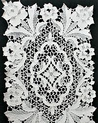 Antique Hand Made Needle Lace Point de Venice Floral Lace Runner and Placemat Set