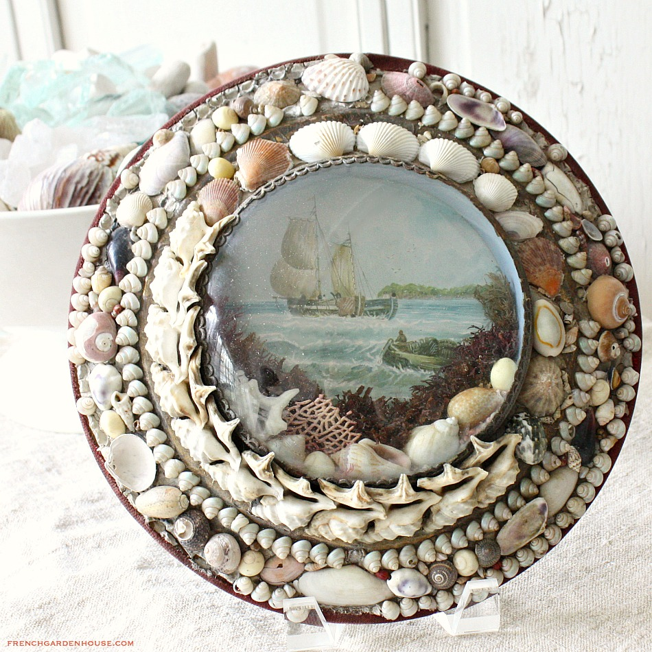 Antique Sailors Valentine Victorian Sea Shell Art Bubble
