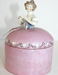 Antique German Porcelain Half Doll Pink Powder Jar