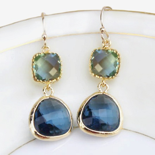 Soft Sea Green and Indigo Earrings