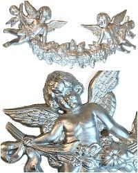 Large Pressed Paper Silver Dresden Cherub Garland