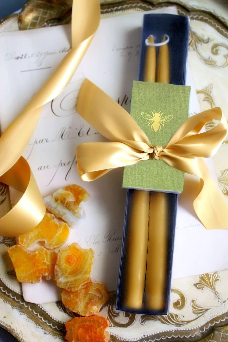 Hand Dipped Provence Sunflower Taper Gift Set