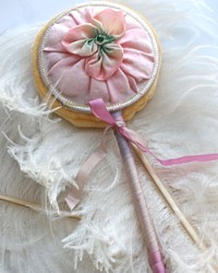Antique Unused French Pink Silk Ribbon Work Powder Puff Wand