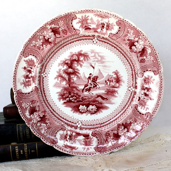 19th Century Red Staffordshire Transferware Plate