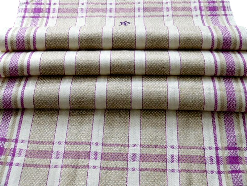 Rare Color Antique Linen Drying Towel Purple Violet